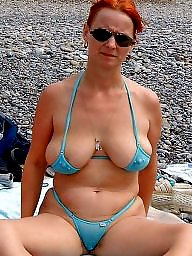 Downblouse, Bikini, Dress, Mature dressed, Mature bikini, Mature dress