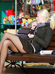 Street, Teen upskirt, Nylon stockings, Amateur stockings