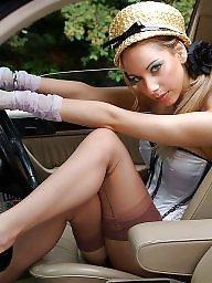 Car, Nylon, Cars, Nylons, Vintage nylon, Nylon upskirt