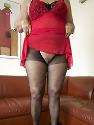 Red, Pink, Mature in stockings, Stocking mature, Red mature
