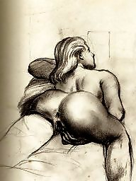 Vintage, Drawings, Drawing, Draw, Erotic