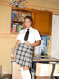 Skirt, White and black, White