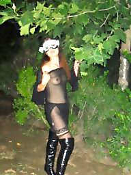 Boots, See through, Dressed, See-through, Public flashing, Night