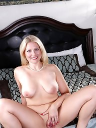 Bed, Big boobs, Blonde milf