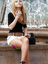 Nylon, Street, Upskirt stockings, Nylon stockings, Amateur nylon