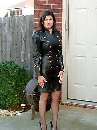 Leather, Milf upskirt