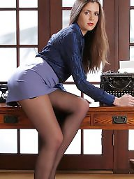 Office, Nylons, Nylon upskirt, Strip, Stripping, Upskirt stockings
