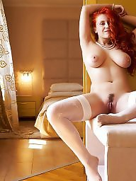 Stocking, White panties, Pantie, Big tit, Big tit redhead, Purple