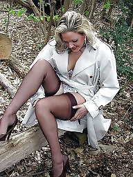 Vintage, Wood, Woods, Upskirt stockings, Ladies, Legs stockings