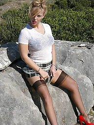 Stockings, Lady, Flashing, Naked