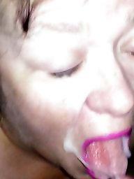 Facial, Bbw wife, Slut wife, Red, Cumming, Facials