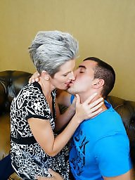 Granny, Old granny, Kissing, Boys, Mature boy, Old