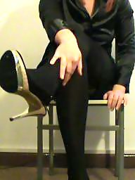 Satin, Heels, Tights, Blouse, Amateur stockings