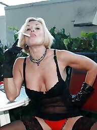 Smoking, Smoke, Busty milf, Amateur stocking