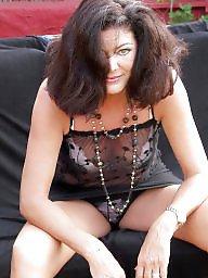 Strip, Garden, Stripping, Brunette mature, Mature strip