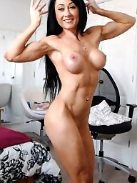 Muscle, Muscles, Brunette milf, British milf