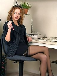 Office, Lady, Upskirt hairy, Officer