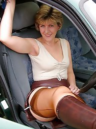 Leather, Uk mature, Mature leather, Mature stocking