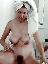 Busty, Shower, Natural, Natural boobs, Hairy brunette, Big hairy