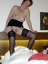 Black mature, Mature stocking, Black, German, Stockings, Underwear