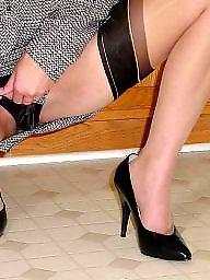 Lady, Ladies, Show, Upskirt stockings